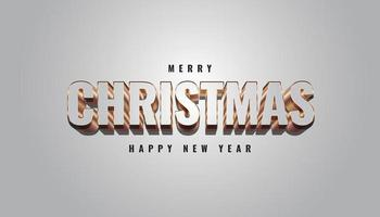merry christmas banner met 3D-grijze en gouden letters vector