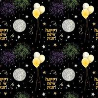 naadloos nieuwjaarspatroon met ballons en vuurwerk