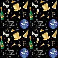 naadloos nieuwjaarspatroon met champagne en feestmutsen