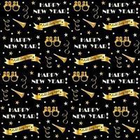 naadloze oudejaarsavondpatroon met confetti en lawaaimakers