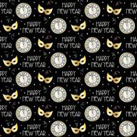 naadloos nieuwjaarspatroon met aftelklok en maskers
