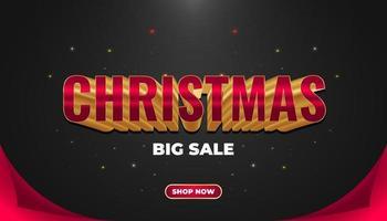 kerst verkoop banner met 3d rode en gouden tekst vector