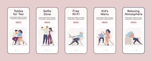 stadscafé-services die mobiele app-schermen onboarding