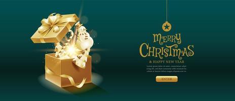 vrolijke kerst magische geschenkdoos vector