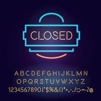gesloten neonlichtbord