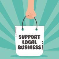 steun lokale bedrijfscampagne met boodschappentas