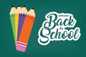 terug naar school-poster met kleurpotloden vector