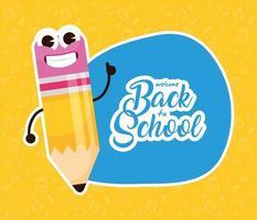 terug naar school-poster met kawaii-potloodkarakter vector