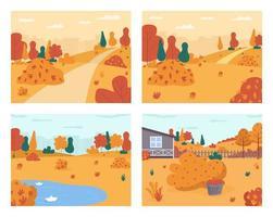 herfst landschap ingesteld vector