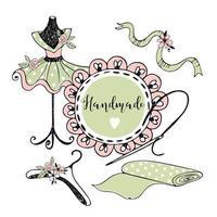 schattige kleermakersitems met ruches in doodle-stijl