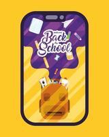 terug naar school, e-learning en banner voor online onderwijs