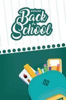 terug naar school poster met rugzak en benodigdheden vector
