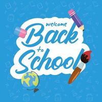 terug naar school-poster met schoolmaterialen