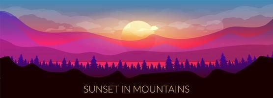 zonsondergang in de bergen vector