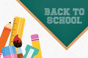 terug naar school-poster met schoolmaterialen vector
