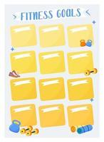 fitness doelen creatieve planner pagina-ontwerp
