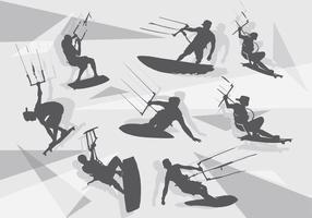 kitesurfing silhouet pack vector