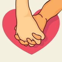 pink beloven handen met hart vector