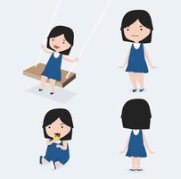 schattig klein meisje blauwe jurk set vector