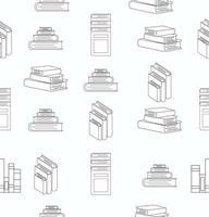 stapel boeken wit plat ontwerp naadloos vector