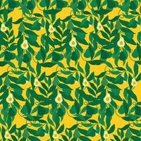 avocado op gele patroonachtergrond vector