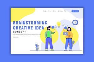 platte ontwerpconcept van creatief idee brainstormen vector
