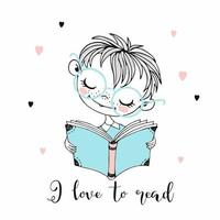 schattige kleine jongen die een boek leest.