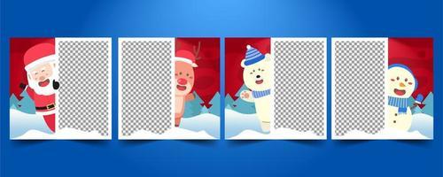set merry christmas social media-sjablonen