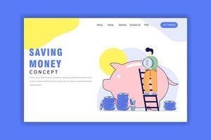 platte ontwerpconcept van geld besparen