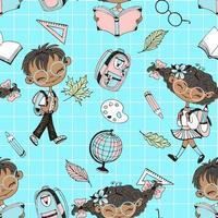 schoolthema met schoolaccessoires voor meisjes en jongens.
