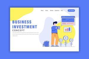 platte ontwerpconcept van bedrijfsinvesteringen