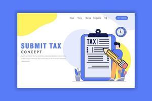 plat ontwerpconcept van het indienen van belasting-bestemmingspagina vector