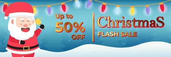 kerstbanner super flash-verkoop tot 50 procent vector