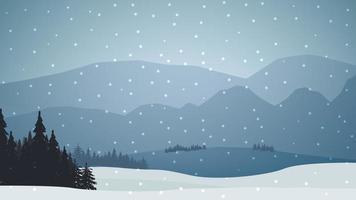 grijs en blauw winterlandschap met bos