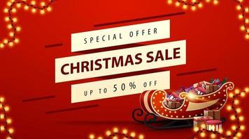 rode kortingsbanner met kerstman slee met cadeautjes vector