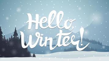 mooie letters op achtergrond van winterlandschap