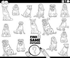 vind twee dezelfde hondenkarakters in kleurboek vector