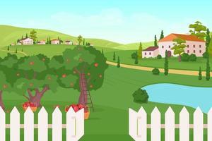 huis op landbouwgrond vector
