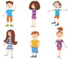 cartoon gelukkige kinderen mier tieners tekens instellen vector