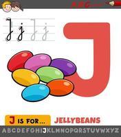 letter j werkblad met cartoon jellybeans