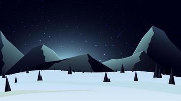 winterlandschap met besneeuwde bergen aan de horizon
