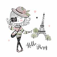 schattig meisje met een camera in Parijs. vector