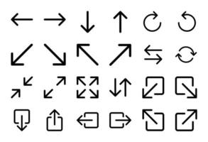 set van 24 pijlpictogrammen in lineaire stijl vector