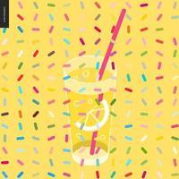 glas limonade en een patroon vector