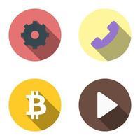 set van 4 plat pictogrammen - versnelling, telefoon, bitcoin, start