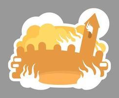 brandende middeleeuwse badge vector