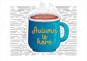 Vrije Hand Getekende Illustratie van de Herfst Drinken