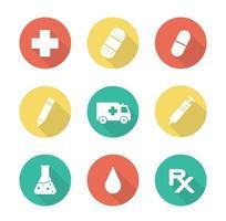 medische platte ontwerp lange schaduw pictogrammen instellen. vector