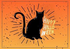 Gratis Vintage Halloween Cat Vector Illustratie