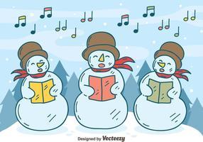 Sneeuwman Carolers Vector